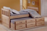 Single 3FT  White Or Wax Captain's Cabin Bed with Under Bed & Drawers Frame Only